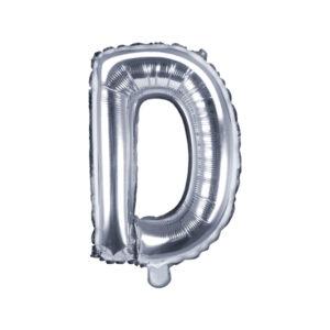 Folienballon Buchstabe D, 35cm, silber