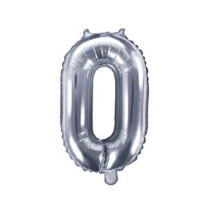 Folienballon Nummer 0, 35cm, silber