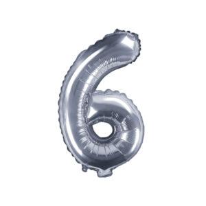 Folienballon Nummer 6, 35cm, silber