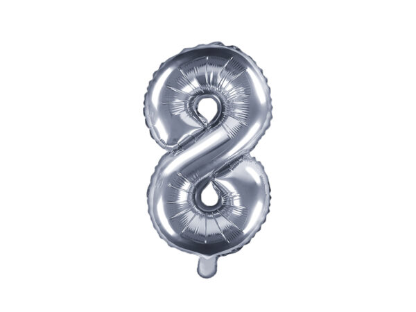 Folienballon Nummer 8, 35cm, silber