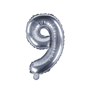 Folienballon Nummer 9, 35cm, silber