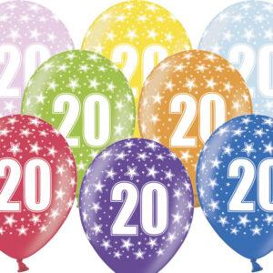 6 Latexballons im Farbenmix - 20.Geburtstag