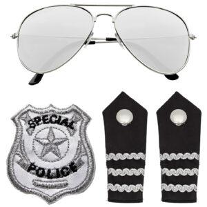 POLIZISTEN SET (Sonnenbrille, Schulterklappe, Abzeichen)