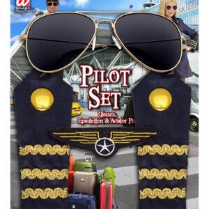 Piloten-Set (Sonnenbrille, Schulterklappe, Abzeichen)