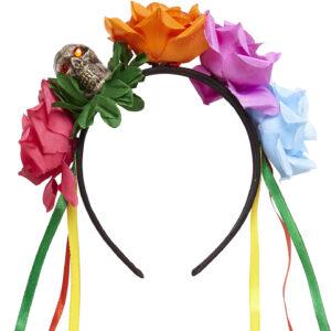 Haarreif mit 5 Rosen, Totenkopf und bunten Bändern