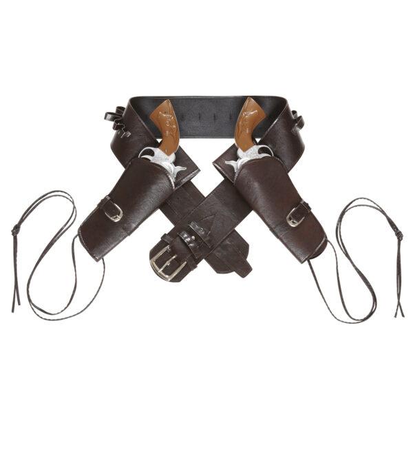 Westernpistolenhalter Holster für zwei Pistolen braun