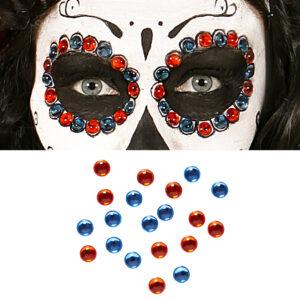 Set Augenschmuck Klebsteine blau/amber