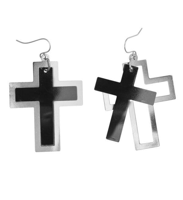 Schwarz-Silberne Kreuz-Ohrringe