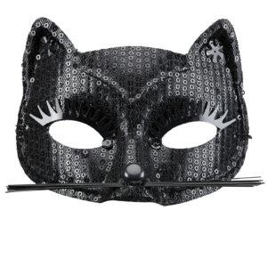 Katzenmaske mit Pailetten (schwarz)