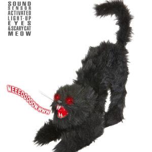 Schwarze katze mit Licht und Sound 60 cm