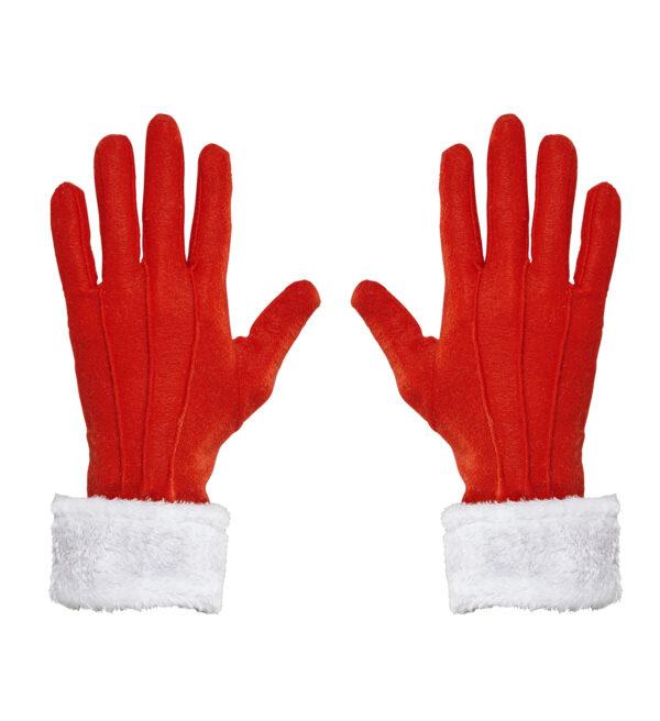 Weihnachtsmannhandschuhe mit Plüschverzierung