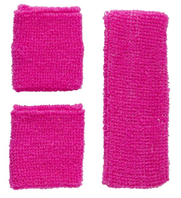 Set Schweissbänder Neon Pink