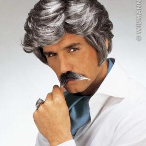 Perücke Casanova mit Schnurrbart, grau