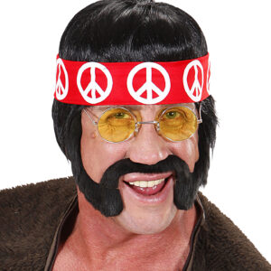 BLACK HIPPIE WIG WITH SIDEBURNS MOUSTACHE