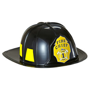 BLACK FIREMAN HAT hard plastic