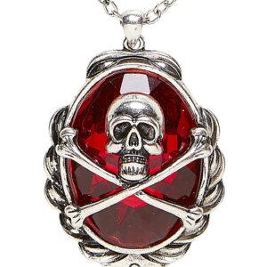 Halskette mit Totenkopf und gekreuzten Knochen auf rotem Juwel