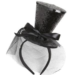 Schwarzer Zylinderhut auf Haarreif mit Schleife und Schleier