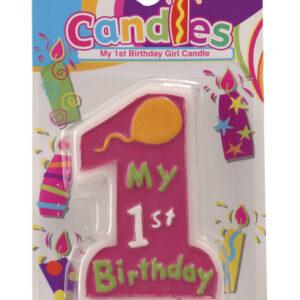 Kerze 'My 1st Birthday' rosa