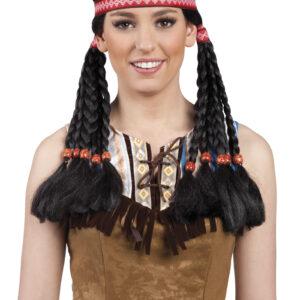 Perücke Indian Makawee mit Stirnband