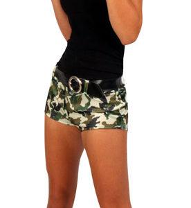 Hotpants camouflage Gürtel Gr. L-XL