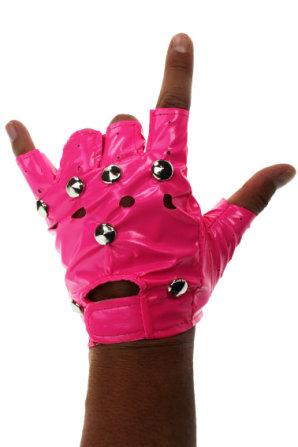 Handschuh Punk neon-pink