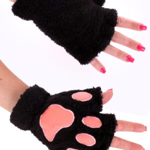 Plüschhandschuh Tierpfote fingerlos schwarz