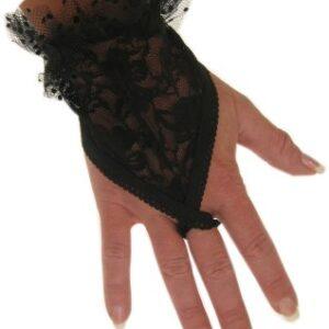 Spitzenhandschuhe fingerlos mit Schlaufe schwarz