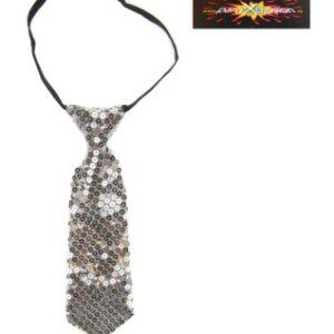 Krawatte silber Pailletten