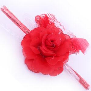 Brosche Blume rot-weiß Schlauch und Federn