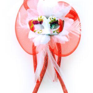 Blumenbrosche Maske rot-weiß