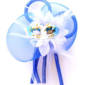 Blumenbrosche Maske blau/weiß