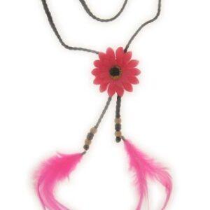 Hippie Stirnband mit rosa Blume und Federn