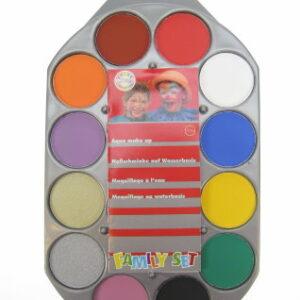 Aqua Schminkpalette 12 Farben und Pinsel