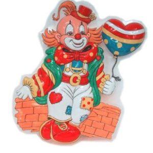 Wanddeko Clown mit Herzballon 38x28cm