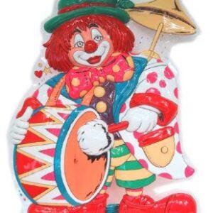 Wanddeko Clown mit großer Trommel 55x40cm