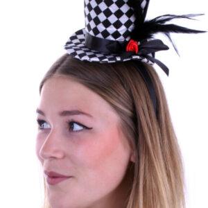 Mini-Hut mit Rose und Federn schwarz-weiß kariert