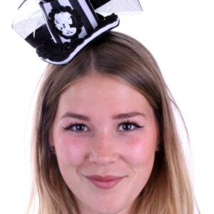 Mini-Hut mit Rose und Cameo schwarz-weiß kariert