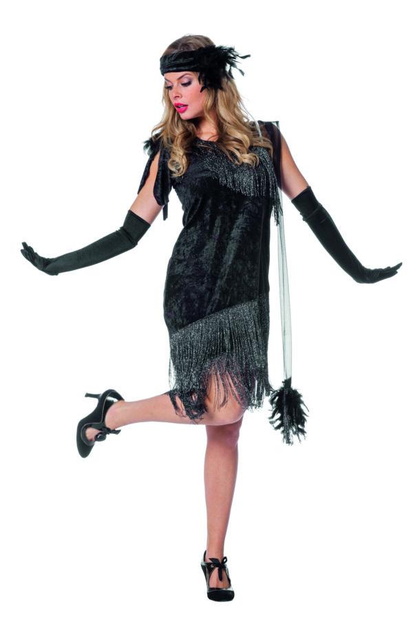 Charlestonkleid Luxus schwarz Gr.38