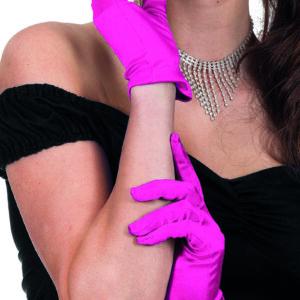 Gala Handschuhe Satin 20cm neon-pink