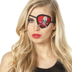 Augenklappe Schädel rot/schwarz