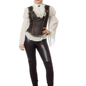 Bluse Piratin 2teilig schwarz Gr.38