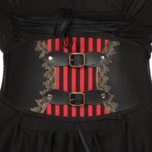 Gürtel mit Schnallen schwarz-rot