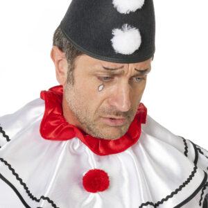 Spitzhut Pompon weiß-schwarz