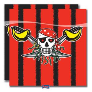 Servietten Pirat rot-schwarz 20Stk