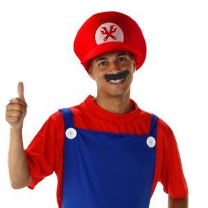 Set: Mütze Super-Klempner, rot, Schnurrbart