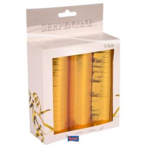 Luftschlangen metallic-gold 3Stk