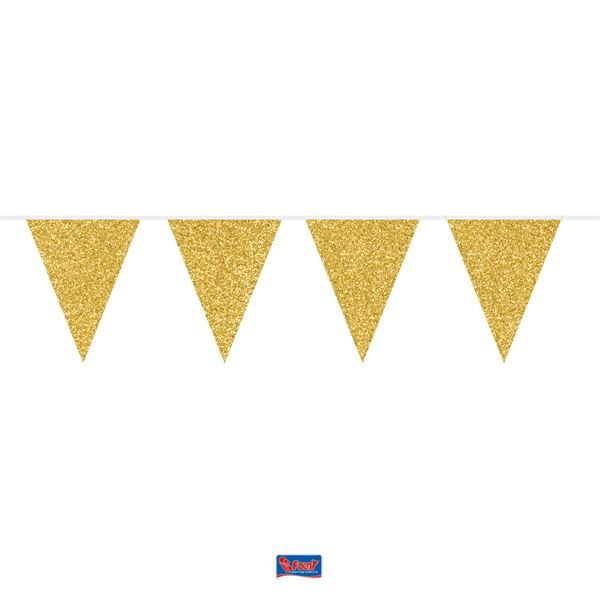 Wimpelkette glitter gold 6m