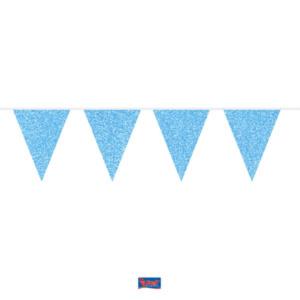 Wimpelkette  azurblau glitter 6m