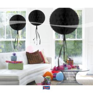 Honigwaben Ball schwarz 30cm