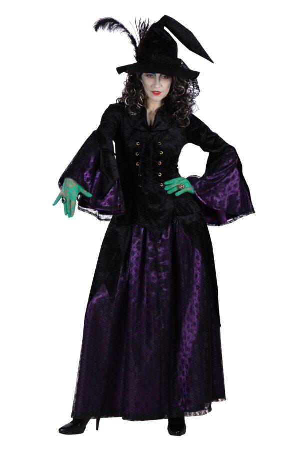 Damenkostüm Hexe Vampirella schwarz-lila Spitze Gr. L
